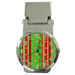 Christmas Paper Pattern Money Clip Watches