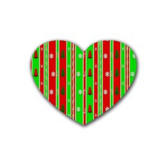 Christmas Paper Pattern Rubber Coaster (Heart)