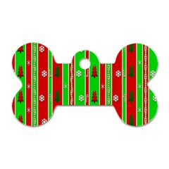 Christmas Paper Pattern Dog Tag Bone (Two Sides)