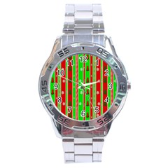 Christmas Paper Pattern Stainless Steel Analogue Watch