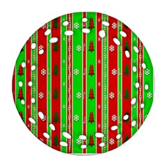 Christmas Paper Pattern Round Filigree Ornament (Two Sides)