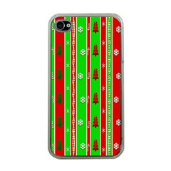Christmas Paper Pattern Apple iPhone 4 Case (Clear)