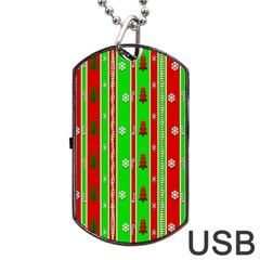 Christmas Paper Pattern Dog Tag USB Flash (One Side)