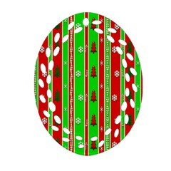 Christmas Paper Pattern Oval Filigree Ornament (Two Sides)