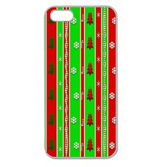 Christmas Paper Pattern Apple Seamless iPhone 5 Case (Clear)