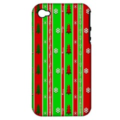 Christmas Paper Pattern Apple iPhone 4/4S Hardshell Case (PC+Silicone)