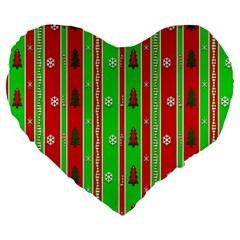 Christmas Paper Pattern Large 19  Premium Heart Shape Cushions