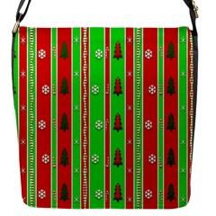 Christmas Paper Pattern Flap Messenger Bag (S)