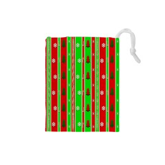 Christmas Paper Pattern Drawstring Pouches (small)