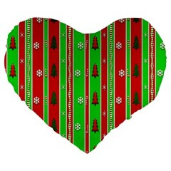 Christmas Paper Pattern Large 19  Premium Flano Heart Shape Cushions