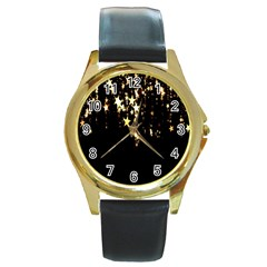 Christmas Star Advent Background Round Gold Metal Watch