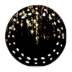 Christmas Star Advent Background Round Filigree Ornament (two Sides)