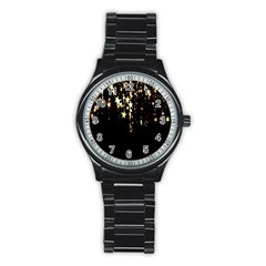 Christmas Star Advent Background Stainless Steel Round Watch