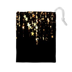 Christmas Star Advent Background Drawstring Pouches (Large)