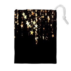 Christmas Star Advent Background Drawstring Pouches (Extra Large)