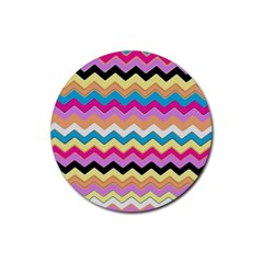 Chevrons Pattern Art Background Rubber Round Coaster (4 pack)