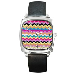 Chevrons Pattern Art Background Square Metal Watch