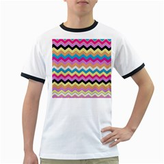 Chevrons Pattern Art Background Ringer T-Shirts