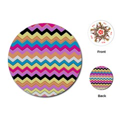 Chevrons Pattern Art Background Playing Cards (Round)