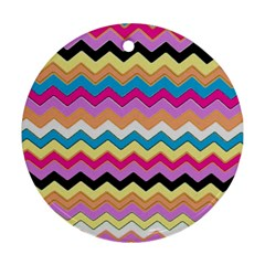 Chevrons Pattern Art Background Round Ornament (Two Sides)