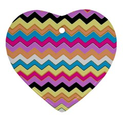 Chevrons Pattern Art Background Heart Ornament (Two Sides)