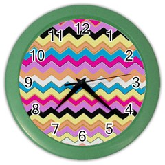 Chevrons Pattern Art Background Color Wall Clocks