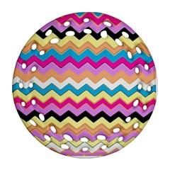 Chevrons Pattern Art Background Ornament (Round Filigree)