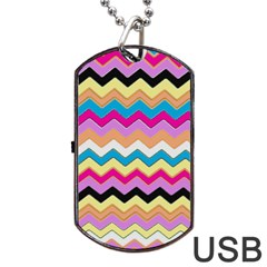 Chevrons Pattern Art Background Dog Tag USB Flash (One Side)
