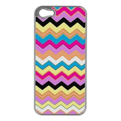 Chevrons Pattern Art Background Apple iPhone 5 Case (Silver)