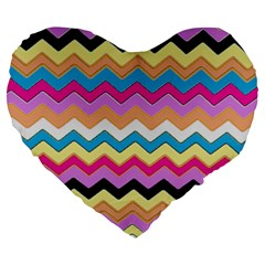 Chevrons Pattern Art Background Large 19  Premium Heart Shape Cushions