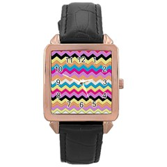 Chevrons Pattern Art Background Rose Gold Leather Watch