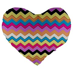 Chevrons Pattern Art Background Large 19  Premium Flano Heart Shape Cushions
