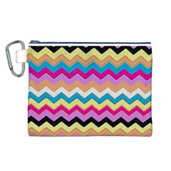 Chevrons Pattern Art Background Canvas Cosmetic Bag (l)