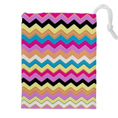 Chevrons Pattern Art Background Drawstring Pouches (XXL)
