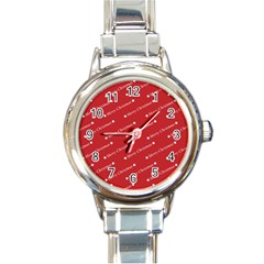 Christmas Paper Background Greeting Round Italian Charm Watch