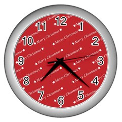 Christmas Paper Background Greeting Wall Clocks (Silver)