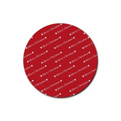Christmas Paper Background Greeting Rubber Coaster (Round)