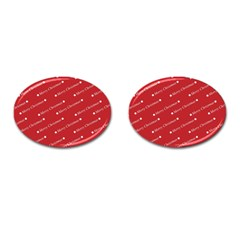 Christmas Paper Background Greeting Cufflinks (oval)