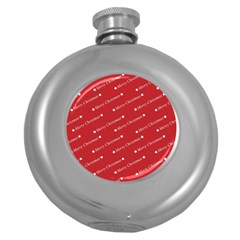 Christmas Paper Background Greeting Round Hip Flask (5 oz)
