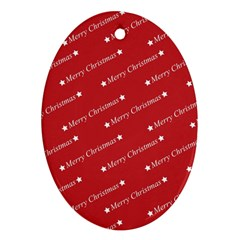 Christmas Paper Background Greeting Oval Ornament (Two Sides)