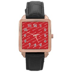 Christmas Paper Background Greeting Rose Gold Leather Watch