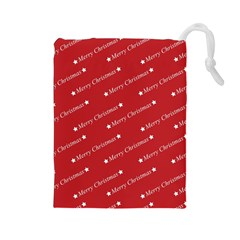 Christmas Paper Background Greeting Drawstring Pouches (Large)