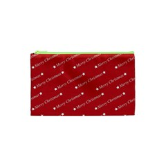 Christmas Paper Background Greeting Cosmetic Bag (XS)
