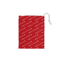 Christmas Paper Background Greeting Drawstring Pouches (XS)