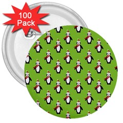 Christmas Penguin Penguins Cute 3  Buttons (100 pack)