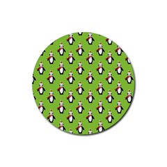 Christmas Penguin Penguins Cute Rubber Round Coaster (4 pack)