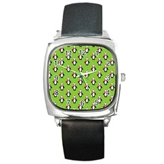 Christmas Penguin Penguins Cute Square Metal Watch