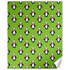 Christmas Penguin Penguins Cute Canvas 11  x 14