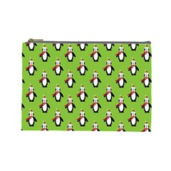 Christmas Penguin Penguins Cute Cosmetic Bag (Large)