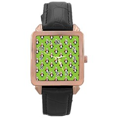 Christmas Penguin Penguins Cute Rose Gold Leather Watch